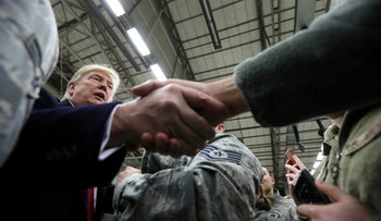 U.S. President Donald Trump greets U.S. troops at Ramstein Air Force Base, Germany, December 27, 2018