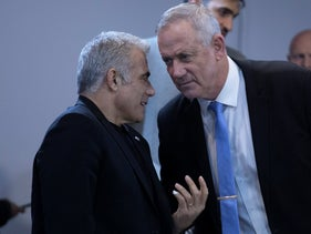 How times have changed: Benny Gantz and Yair Lapid at a Kahol Lavan meeting, December 12, 2019
