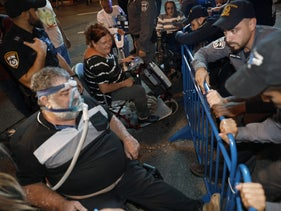 A protest of disabled groups in Tel Aviv, 2019