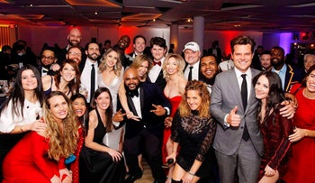 This image provided by the New York Young Republican Club, shows U.S. Rep. Matt Gaetz, R-Fla, foreground right, as he poses with attendees at the organization's 108th Annual Gala in Jersey City, N.J., on Thursday, Dec. 3, 2020.