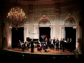 Cantors and musicians perform at the annual Hanukkah event at the Royal Concert Hall in Amsterdam.