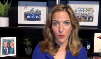 FILE PHOTO: Michigan Secretary of State Jocelyn Benson speaks by video feed during the 2020 Democratic National Convention, August 20, 2020