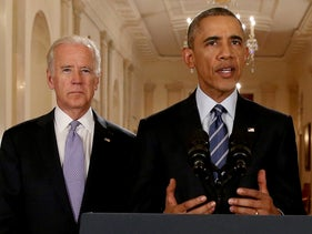 U.S. President Barack Obama with Vice President Joe Biden alongside delivers a statement about the nuclear deal with Iran and six major world powers at the White House in Washington. July 14, 2015