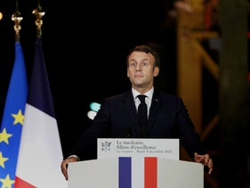French President Emmanuel Macron, delivers his speech during a visit at Framatome nuclear reactor production site in Le Creusot, France, December 8, 2020.
