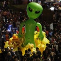 Protesters gathering balloons shaped like aliens during a rally in Bangkok, Thailand, November 27, 2020. At least, we think they're balloons.