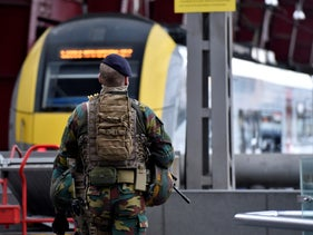 A Belgian soldier patrols in the central station, in Antwerp, Belgium, March 3, 2017.