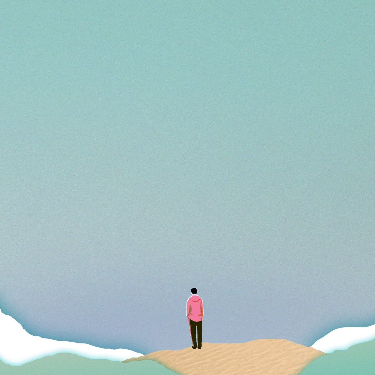 An illustration of a person standing on an island and looking out to the sea.