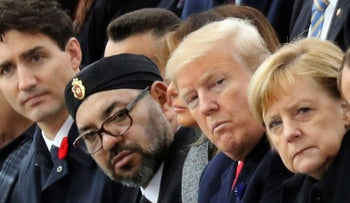 Moroccan King Mohammed VI and U.S. President Donald Trump in Paris for the commemoration marking the 100th anniversary of the end of World War I, November 11, 2018