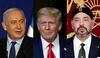 This combination of file pictures from December 10, 2020 shows Israeli Prime Minister Benjamin Netanyahu, U.S. President Donald Trump, and Morocco's King Mohammed VI