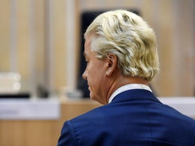 Dutch anti-Islam politician Geert Wilders appears in court for the verdict in his appeal trial in Schiphol near Amsterdam, Netherlands, September 4, 2020.