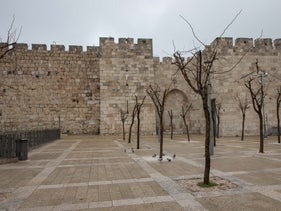 The square by Jaffa Gate at Jerusalem's Old City, December 2020.