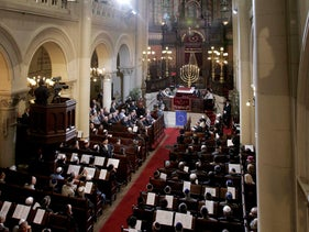 Faithful attend a ceremony for the solemn dedication of Brussels' main synagogue 'La Regence' as Great Synagogue of Europe in Brussels, June 4, 2008.