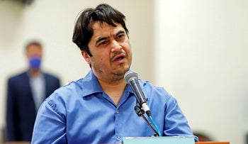 Ruhollah Zam, a dissident journalist who was captured in what Tehran calls an intelligence operation, during his trial in Tehran, Iran June 2, 2020.