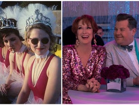 "Kathy Valentine, left, and Charlotte Caffey in ""The Go-Go's"" and Meryl Streep and James Corden in ""The Prom."""