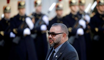 Morocco's King Mohammed VI arrives for a lunch at the Elysee Palace in Paris.
