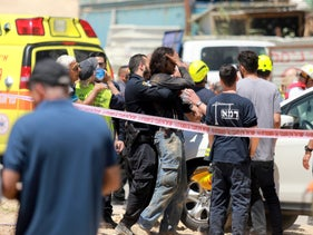 Emergency services at the scene of a fatal construction site accident in Yavne, May 2019.