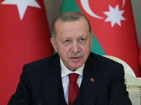 Turkish President Recep Tayyip Erdogan attending a joint press conference with his Azerbaijani counterpart in Baku, December 10, 2020.
