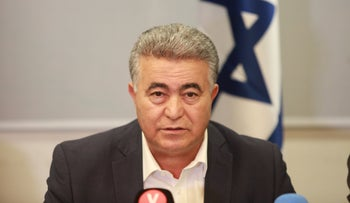Labor Party Chairman Amir Peretz at a press conference in Tel Aviv, March 12, 2020.