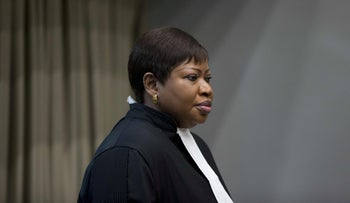 ICC Prosecutor Fatou Bensouda enters the courtroom for the trial of a senior commander of Uganda's Lord's Resistance Army at the International Criminal Court in The Hauge, December 6, 2016.
