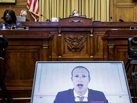 Facebook CEO Mark Zuckerberg speaks via video conference during a House Judiciary subcommittee hearing on antitrust on Capitol Hill in Washington. July 29 2020