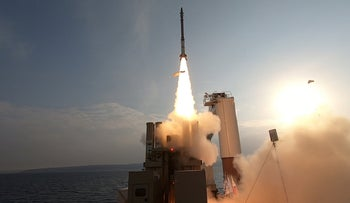 David's Sling being launched from an offshore ship