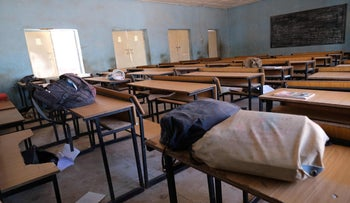 An empty classroom with school bags and wares belonging to pupils at the Government Science school where gunmen abducted students, in Kankara, in northwestern Katsina state, Nigeria, December 15, 2020.
