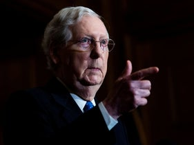 Senate Minority Leader Mitch McConnell conducts a news conference in the U.S. Capitol, Washington