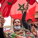 Moroccans celebrate in front of the Rabat parliament building after the U.S. recognized Moroccan control over the disputed territory of Western Sahara and Morocco recognized Israel. Dec 13, 2020