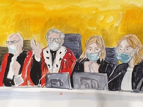 A court sketch of French judges on December 16, 2020 during the sentencing hearing in the trial of 14 suspected accomplices of the Islamists who murdered 17 people over three days of 2015 attacks