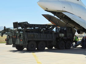 A Russian plane carrying parts of the S-400 air defense systems, lands at Murted military airport outside Ankara, Turkey, August 27, 2019.