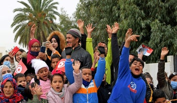 Commemoration of 10th anniversary of Mohamed Bouazizi's self-immolation which triggered a wave of protests across Tunisia, in square named for Bouazizi, in Sisi Bouzid, December 17, 2020.
