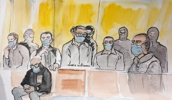 This court sketch shows Ali Riza Polat, right, at the Paris courthouse during the sentencing hearing, December 16, 2020.