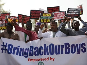 Supporters of the 'Coalition of Northern Groups' rally to urge authorities to rescue hundreds of abducted schoolboys, in northwestern state of Katsina, Nigeria, December 17, 2020.