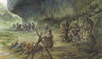 A Neanderthal burial (reconstruction)