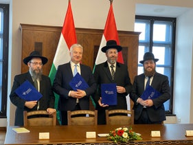 Hungarian Deputy Prime Minister Zsolt Semjen, second from left, meets with rabbis in Budapest, Hungary, November 18, 2019.