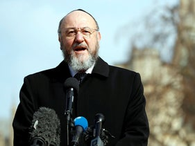 British Chief Rabbi Ephraim Mirvis speaks to the media following an attack in Westminster, London, Britain March 24, 2017.
