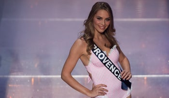 Miss Provence April Benayoum competes on stage during the Miss France 2021 beauty contest at the Puy-du-Fou, in Les Epesses, western France, on December 20, 2020.