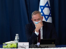 Gantz at a government meeting in July, 2020