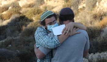 Israeli settlers at the scene of the deadly accident in the West Bank, December 21, 2020.