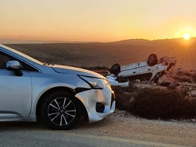 The scene of the accident in the West Bank, December 21, 2020.