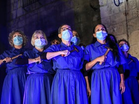 Performers at a protest event in Jaffa organized by the Israel Choreographers Association, December 1, 2020.