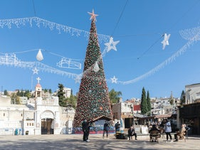 The Christmas tree in Mary's Well Square, Nazareth, December 21, 2020.