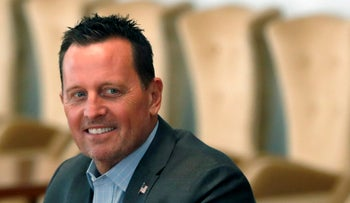 Richard Grenell smiles during a meeting at the Serbia Palace in Belgrade, September 22, 2020.