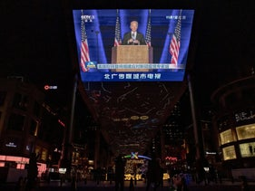CCTV state media broadcast of U.S. President-elect Joe Biden at a department store in Beijing,November 9, 2020