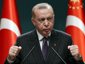 President of Turkey Recep Tayyip Erdogan makes a statement after chairing the cabinet meeting in Ankara,  December 14, 2020.