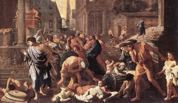 """""""The Plague at Ashdod,"""" by Nicolas Poussin."""