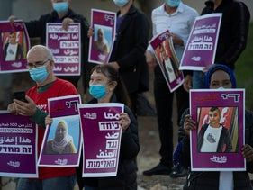 Protesters demanding action over the murder of Arab citizens, in Nazareth, December 19, 2020.