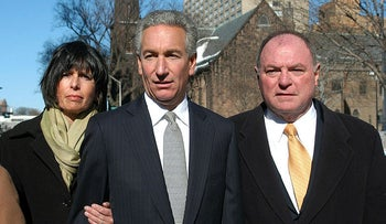 Charles B. Kushner, flanked by his wife, Seryl Beth, left, and his attorney Alfred DeCotiis arrives at the Newark Federal Court for sentencing in Newark, N.J., March 2005.