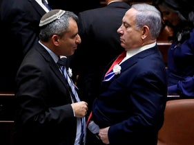 Netanyahu and Elkin at the Knesset, October 3, 2019