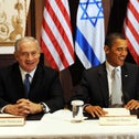 Prime Minister Benjamin Netanyahu, U.S President Barack Obama and Palestinian President Mahmoud Abbas meeting jointly for the first time in 2009.